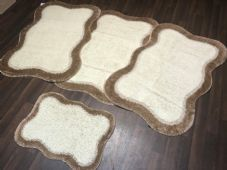 ROMANY GYPSY WASHABLES TRAVELLERS MATS FULL SET OF 4 DARK BEIGE/CREAMS 80X120CM